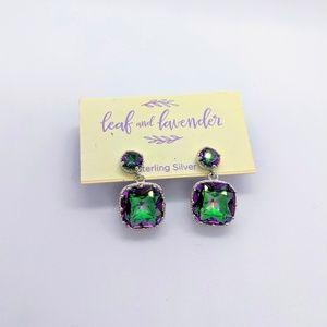 Leaf & Lavender Drop Earrings